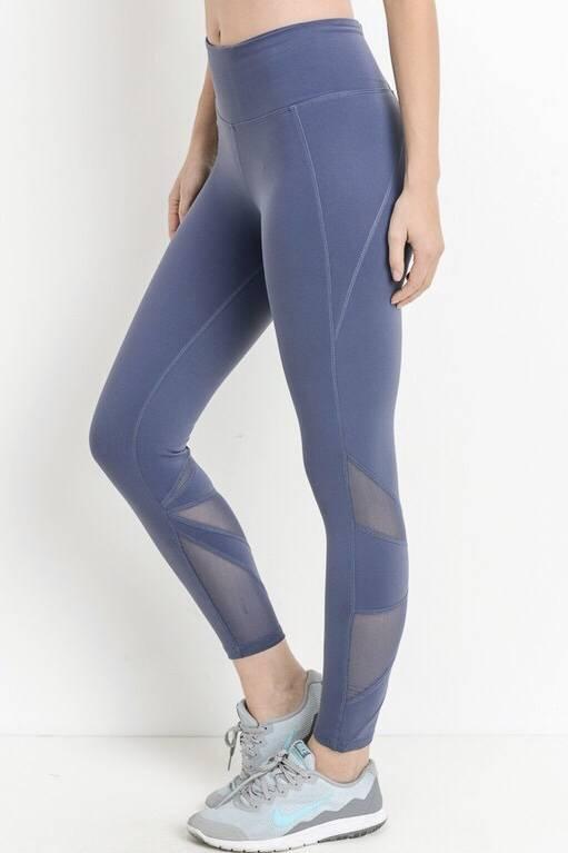 Blue Grey Sports Wear Leggings