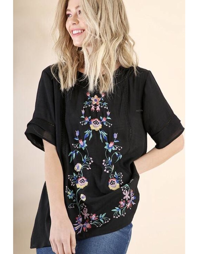 Lillie's Black Floral Embroidered Lace Top