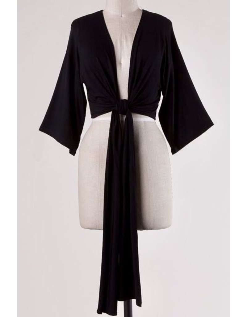 Black Open Front Knotted Half Top