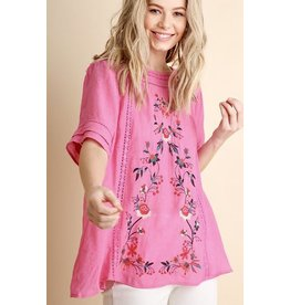 Lillie's Pink Floral Embroidered Lace Top