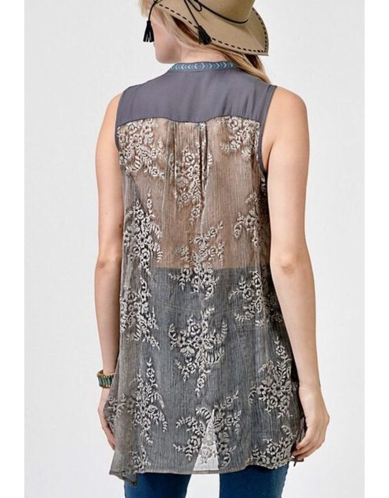 Lillie's Grey Bright Floral Embroidered Tank Sheer Back