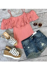 Coral Cold Shoulder Layered Tank with Braided Straps