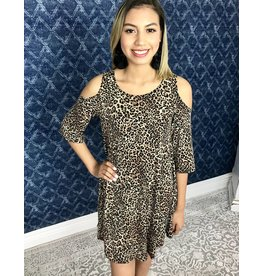 Leopard Print Cold Shoulder Dress