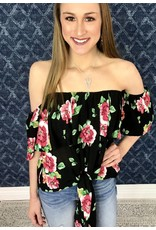 Black / Pink Floral Frill & Knot Top