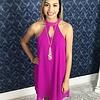 Bright Purple Keyhole Sleeveless Dress