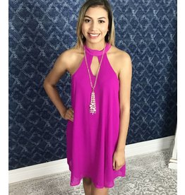 Bright Purple Keyhole Sleeveless Dress