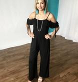 Black Double Ruffle Strap Jumpsuit