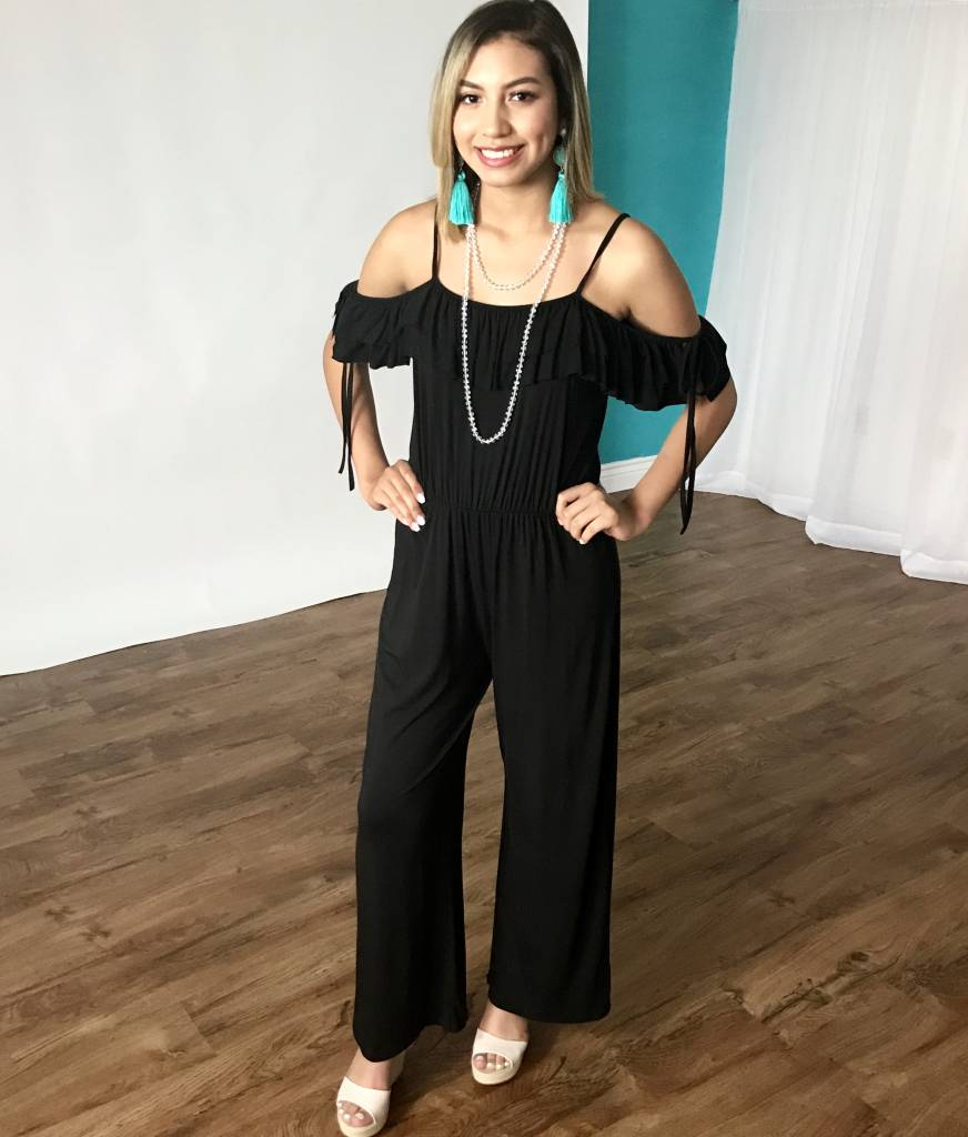 Black Double Ruffle Strap Jumpsuit