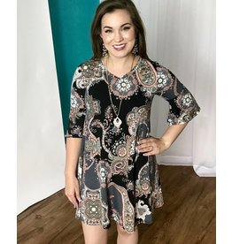 Black / Pastel Paisley Bell Sleeve Dress