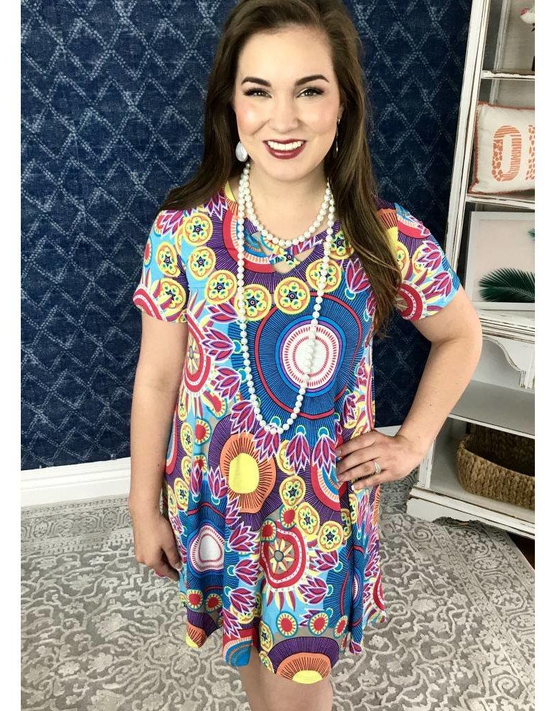 Lillie's Blue Mix Geo-Print Criss Cross Dress