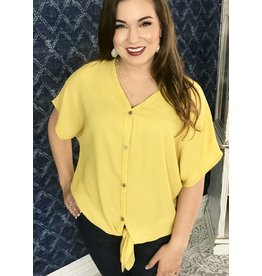 Lillie's Yellow Button Up Knot Sheer Top