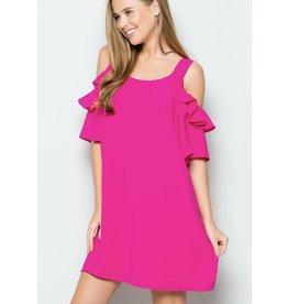 Pink Textured Frill Cold Shoulder Dress