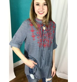 Lillie's Grey / Red Embroidered Lace-Up Top