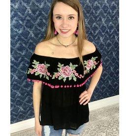 Black / Pink Floral Off Shoulder Top