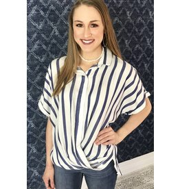 Lillie's Navy / White Striped Button Up Collar Hi Low Top