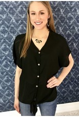 Lillie's Black Button Up Knot Sheer Top