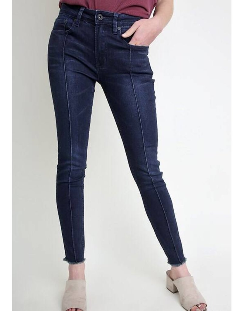 Dark Wash Front Line Fringed Bottom Jeans