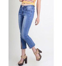 Denim Kick Flare Front Seam Slit Jeans