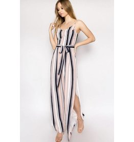 Navy/Peach Striped Side Tie Jumpsuit