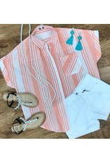 Coral / White Striped Button Up Collar Top