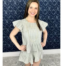 Lillie's Grey Striped Ruffle Shorts