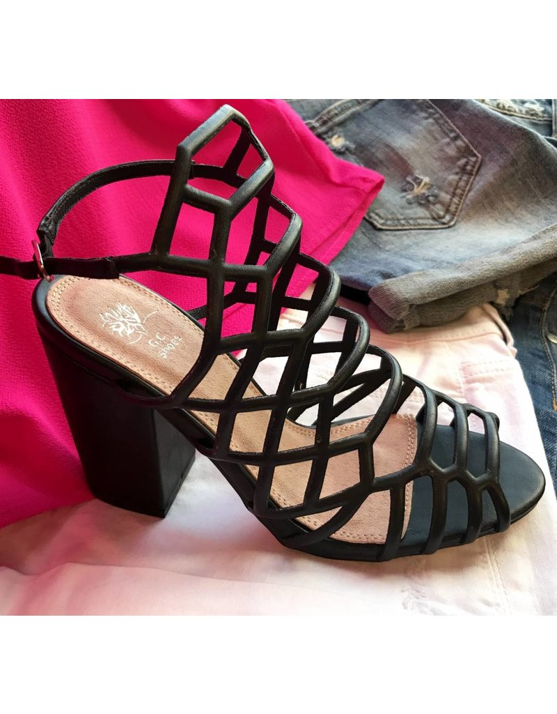 Black Web Top Heel