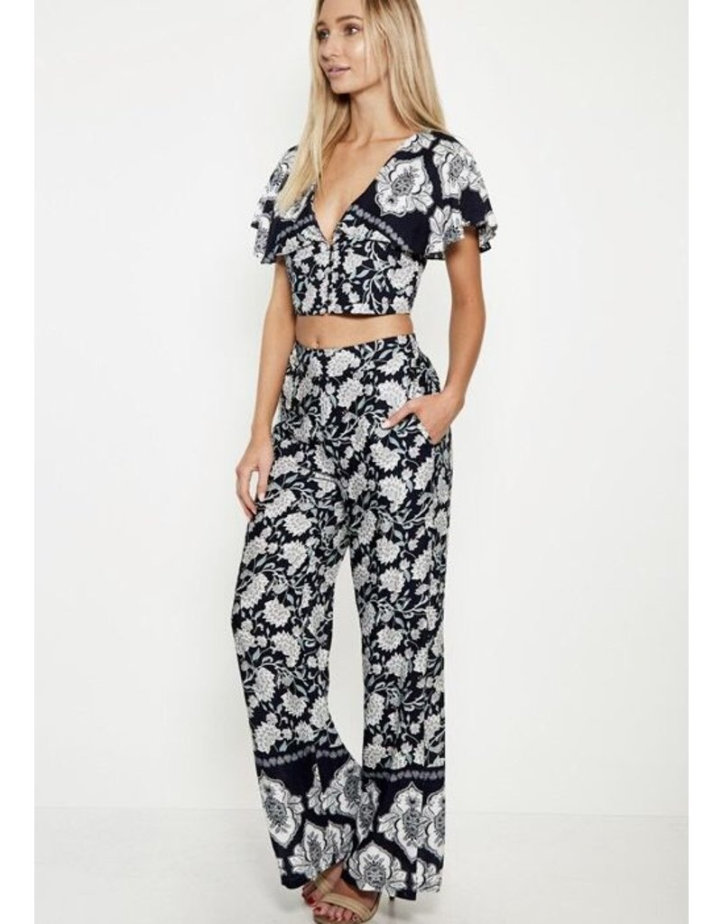 Navy Floral Two Piece Set