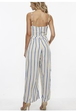 Taupe Striped Jumpsuit with Front Tie