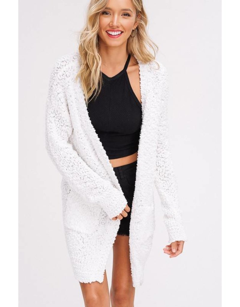 Ivory Textured Cardigan with Pockets