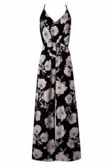 Black Floral Print Jumpsuit with Front Tie