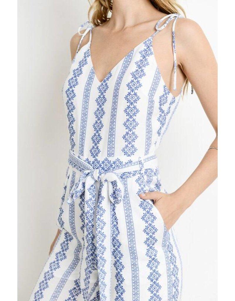Ivory/ Blue Jumpsuit with Waist Belt- SALE ITEM
