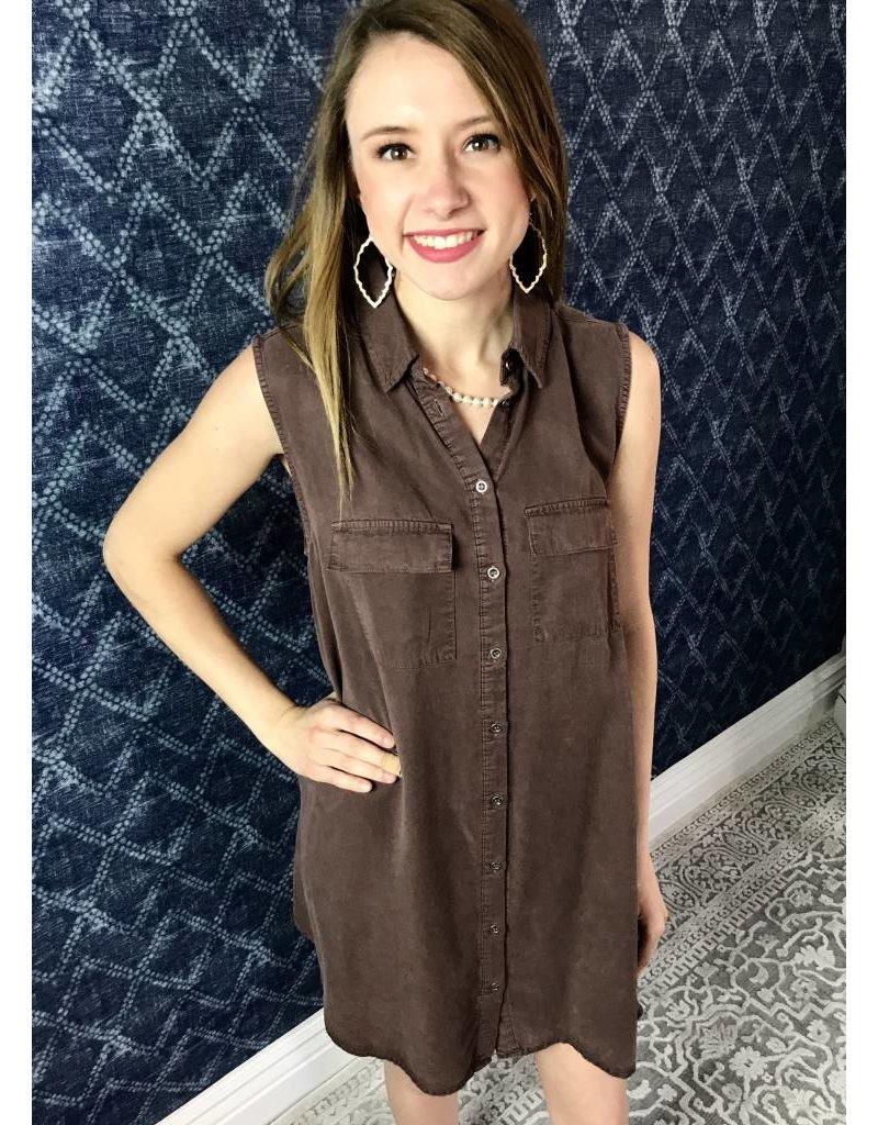Brick Sleeveless Denim Tunic with Pockets
