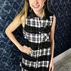 Black / Fuchsia Plaid Sleevess Button Up Dress