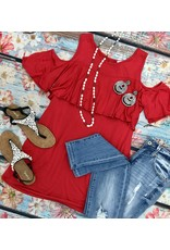 Red Cold Shoulder Ruffle Top