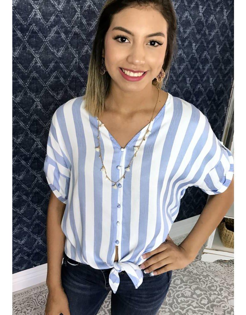 Blue Striped Button Tie Top