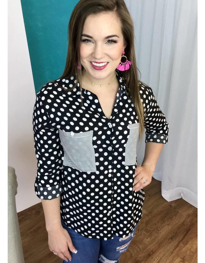 Black with White Polka Dot Button Up Collar Top