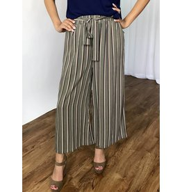 Grey Striped Cropped Pant