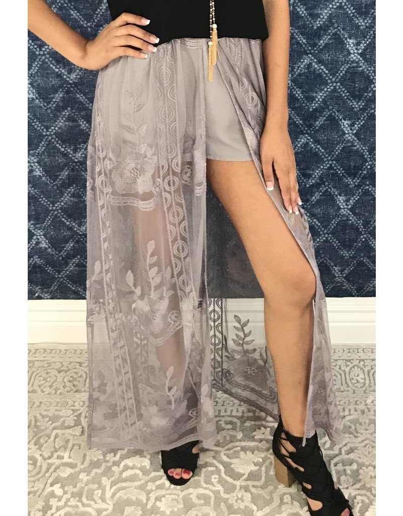 Grey Skirt with Mesh Floral Tail