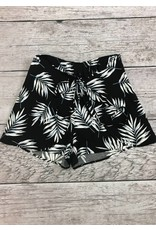 Navy High Rise Leaf Print Shorts