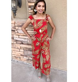 Red Tropical Jumpsuit
