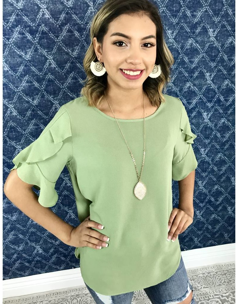 Sage Ruffled Sleeve Top