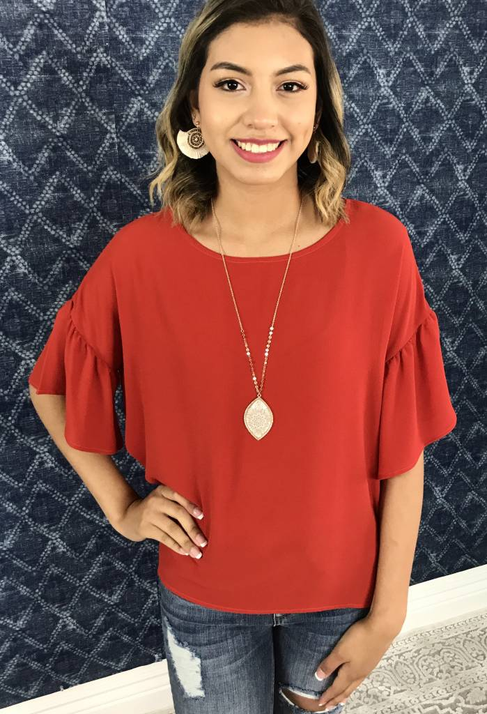 Faded Red Ruffled Sleeve High - Low Top
