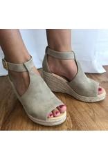 Clay Peep Toe Wedge