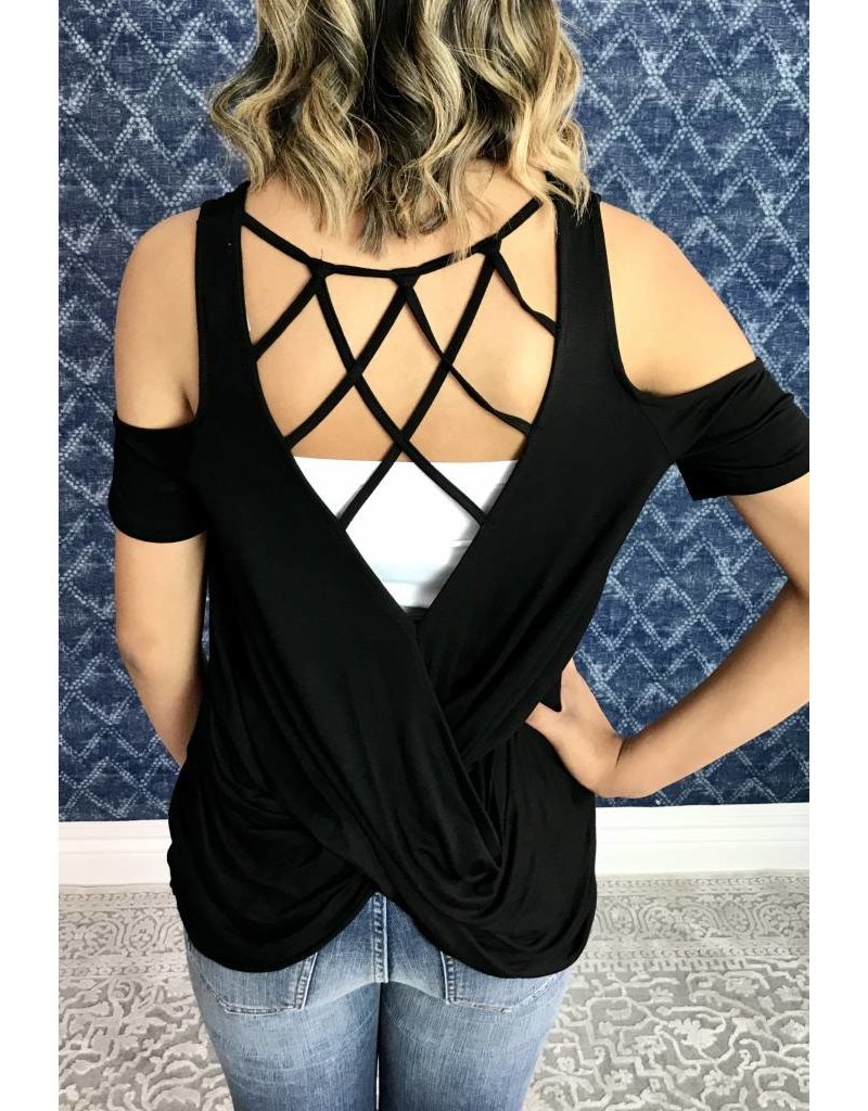 Black Cold Shoulder Webbed Back Top