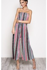 Multi - Colored Striped Jumpsuit w / Front Tie