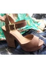 Brown Suede Buckle Heel Sandal