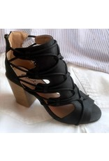 Black Criss Cross Open Toe Chunky Sandal
