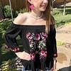 Black Floral Embroidered Off Shoulder Top