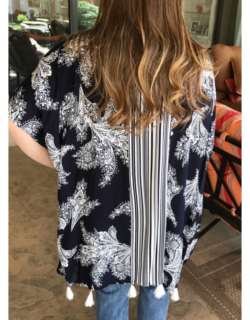 Lillie's Navy / White Open Front Kimono Tassel Hem