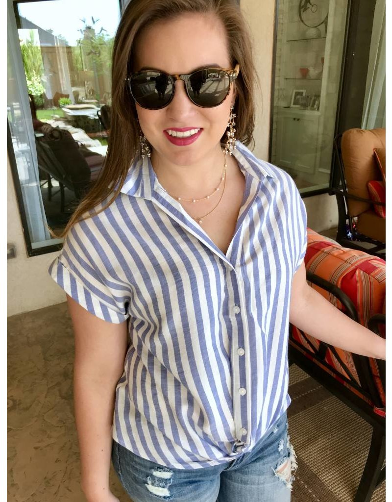 Blue Striped Button Down Top with Front Twist